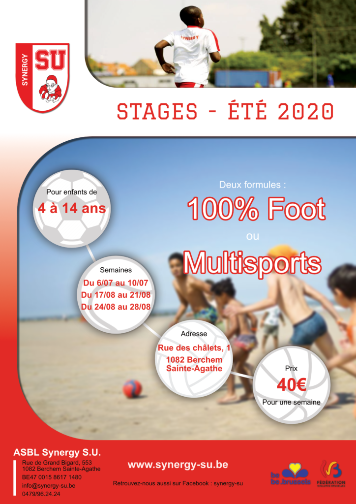Flyer stages d'été 2020 pour enfants en football et multisports, Synergy S.U.